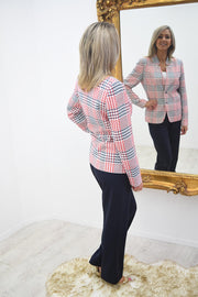 Avalon Navy, Red & White Check Tweed Linen Jacket - A7100