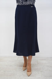 Avalon Navy A-Line Linen Look Skirt - A7139