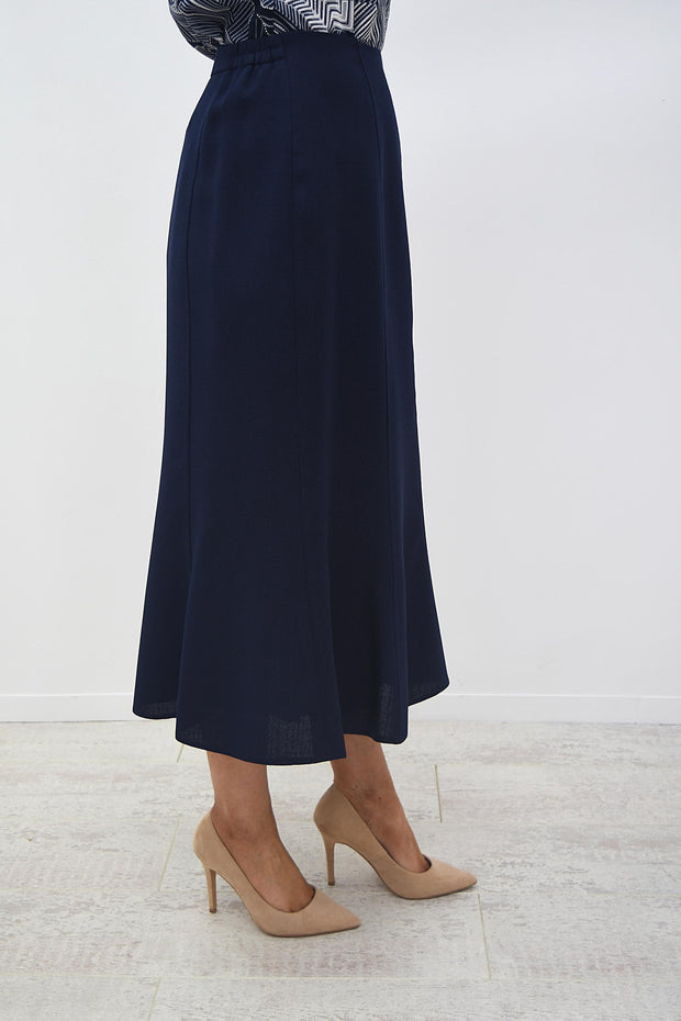 Avalon Navy A-Line Panel Linen Look Skirt - A7139