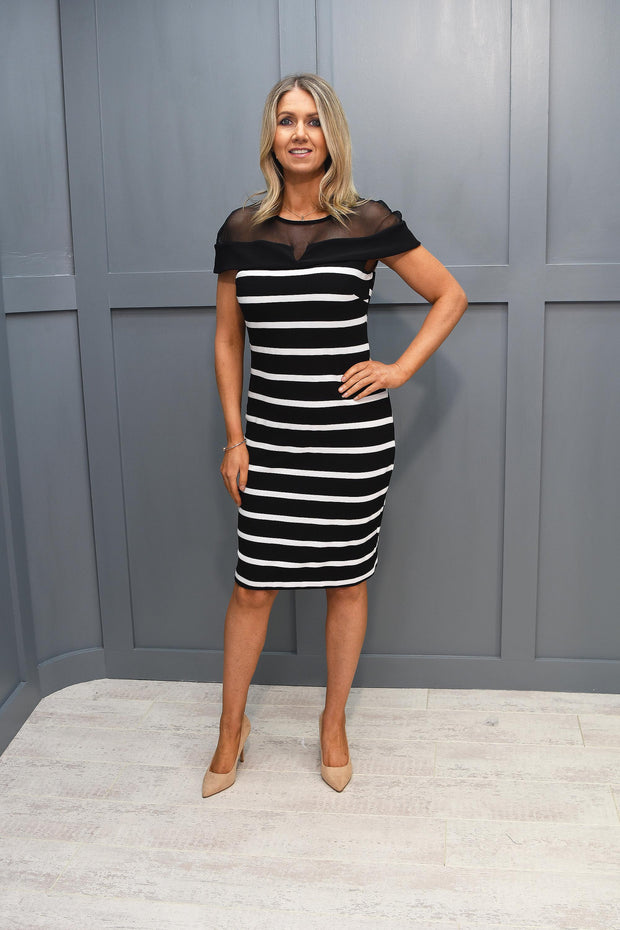 Avalon Navy Striped Placement Dress With Red Stripes - A7117