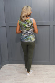 Just White Green Print Vest Top - 43952 658