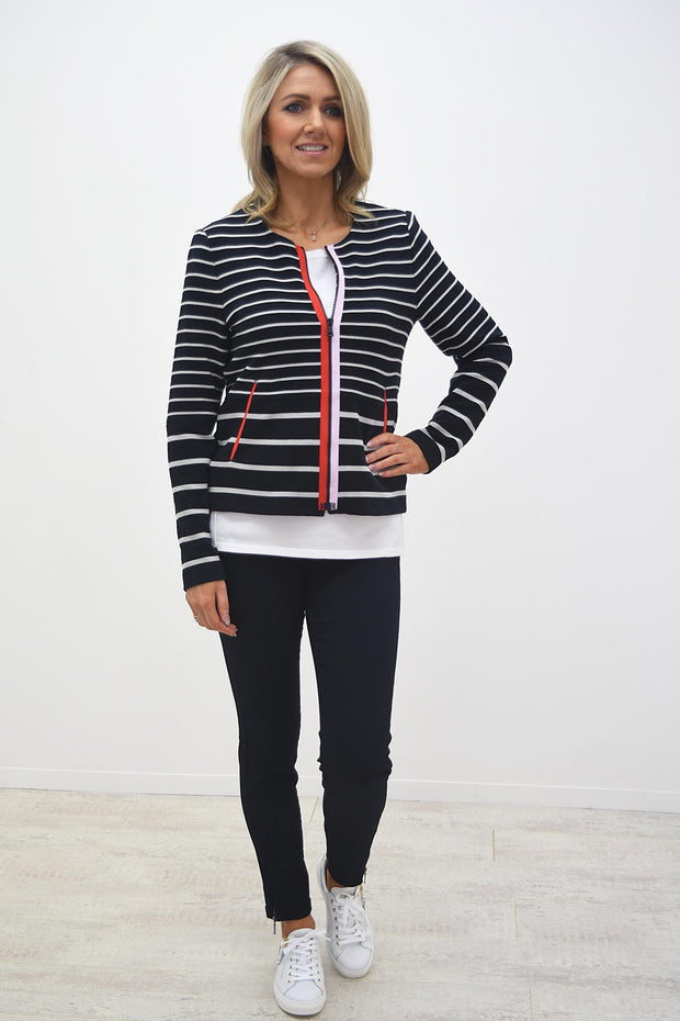 Bianca Navy Striped Jacket With Pink & Red Zip Detail - 4030 499