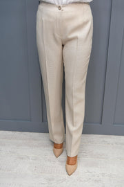Avalon Beige Linen Look Trouser - A7154