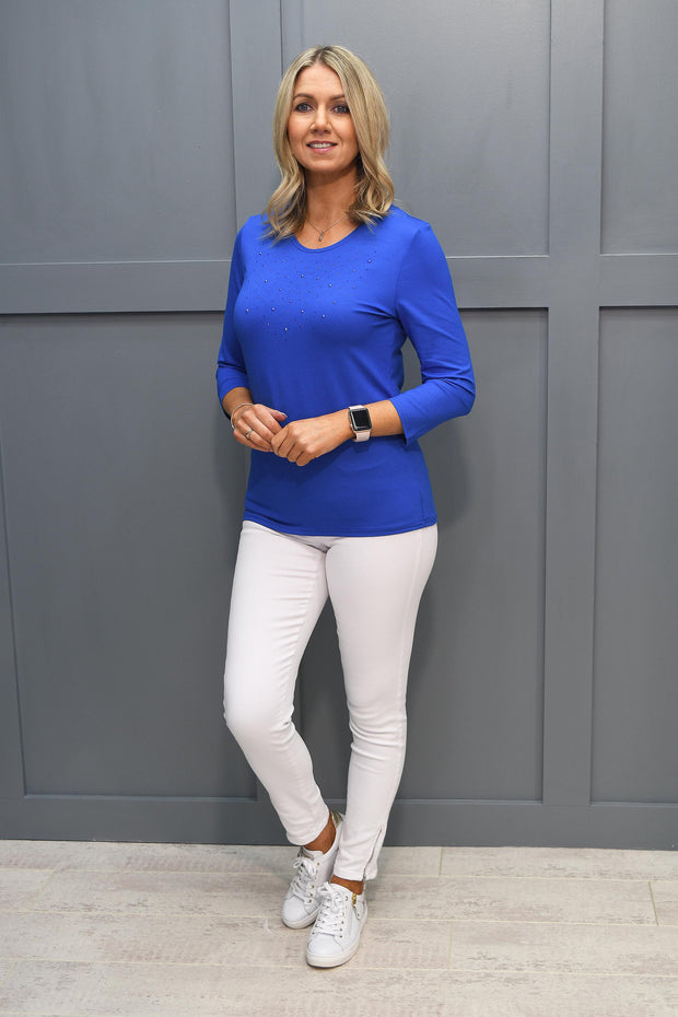 Corali Blue Long Sleeve Top With Stud Detail - L1