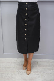 Rino & Pelle Black Faux Leather Skirt With Button Detail - Calcia 750S20