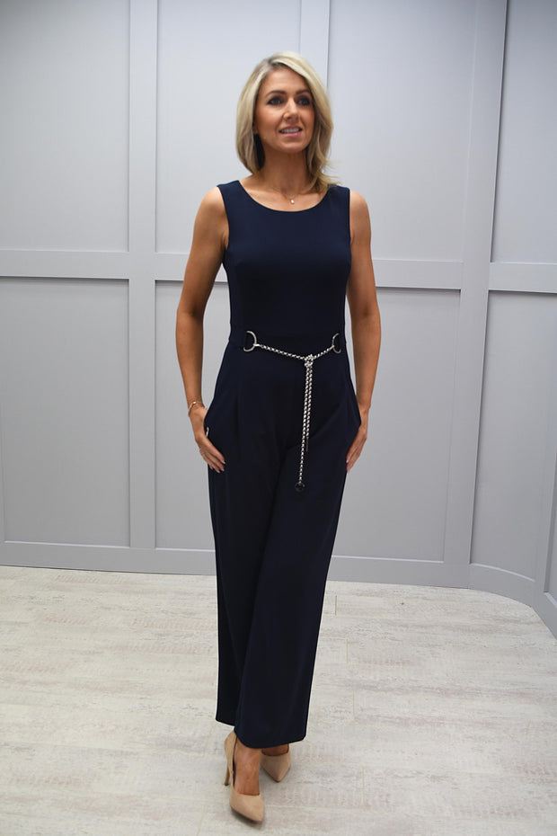 Tia Navy Jumpsuit With Chain Belt - 71269 7341 69