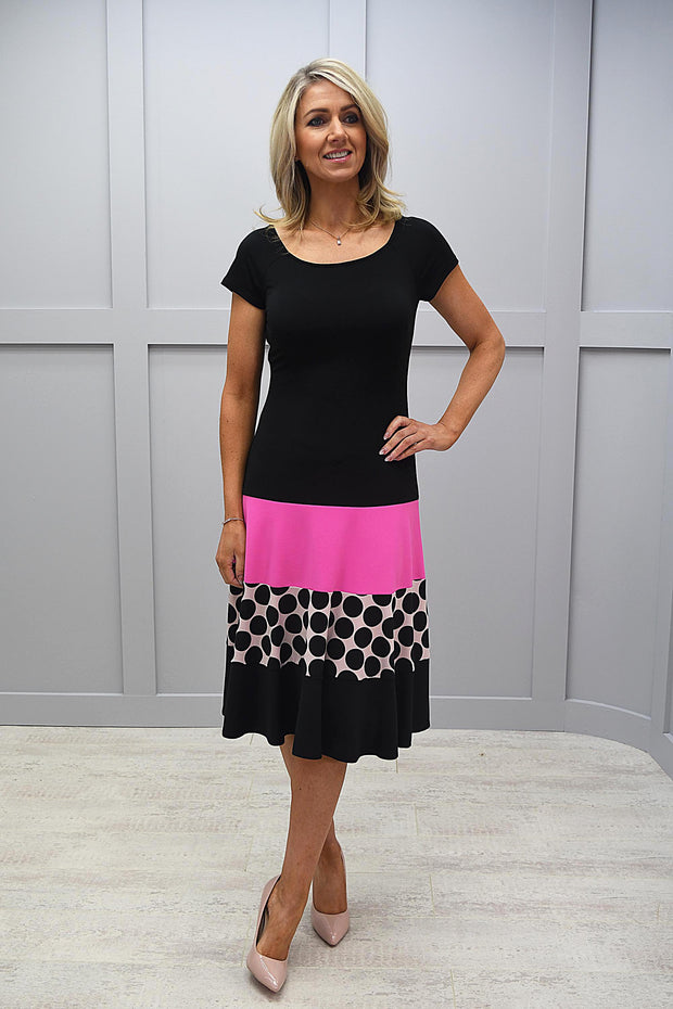 Tia Black Dress With Pink & Circle Details - 78380 7423 9042