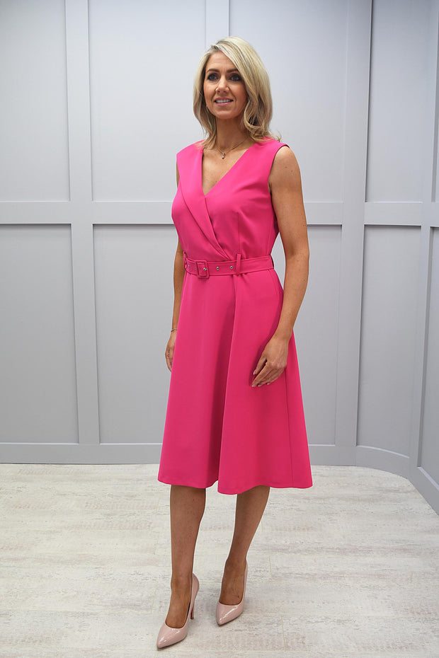 Tia Pink Sleeveless Dress With Belt - 78312 7054 45