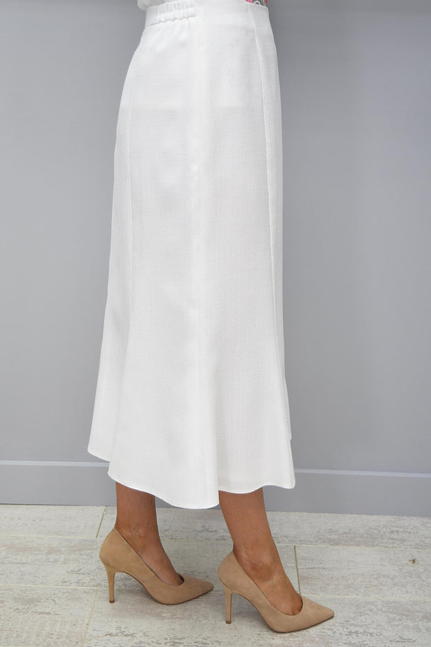 Avalon White Lined A line Panel Linen Look skirt - A7139