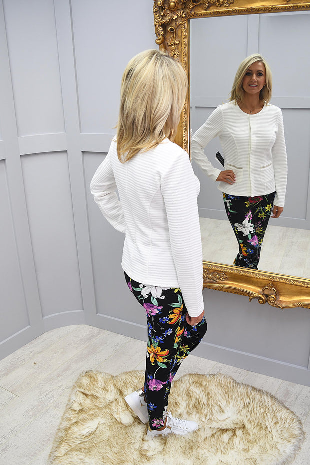 Robell Rose 09 Black Floral Print Trousers - 51622 54731 90