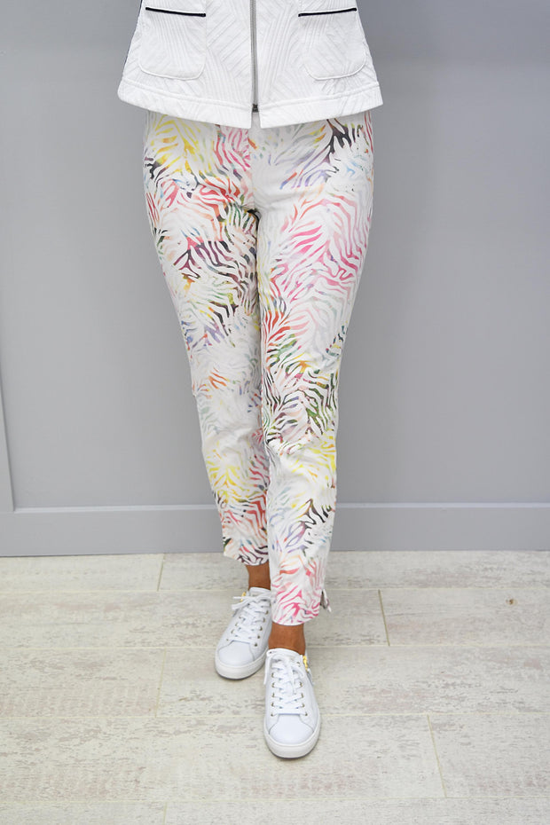Rose 09 Full Length Cream Print Pattern Trousers - 51627 54828 14