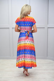 Ella Boo Blue, Orange And Yellow Midi Dress - 2973 50