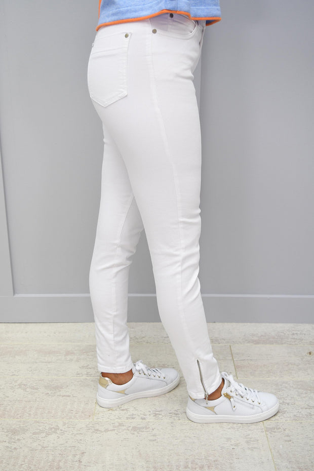 CRO Magic Fit Skinny Jeans, White 7/8 Length with side zip - 5226 525 100