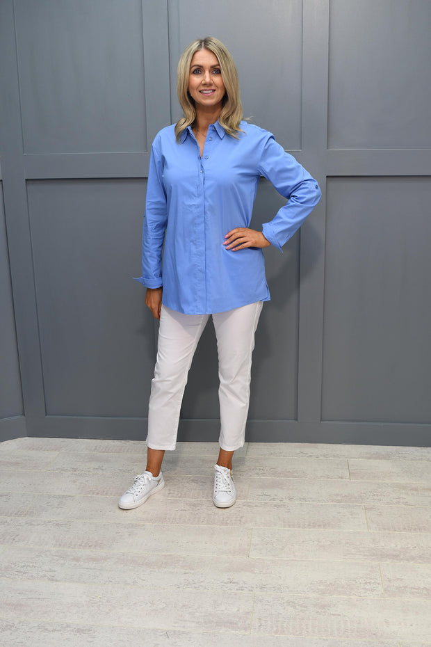 Betty Barclay Plain Blue Long Sleeve Shirt With Back Detail - 8326 2067 8014