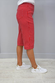 Robell Bella 05 Red Pin Striped Short - 51625 54567 40