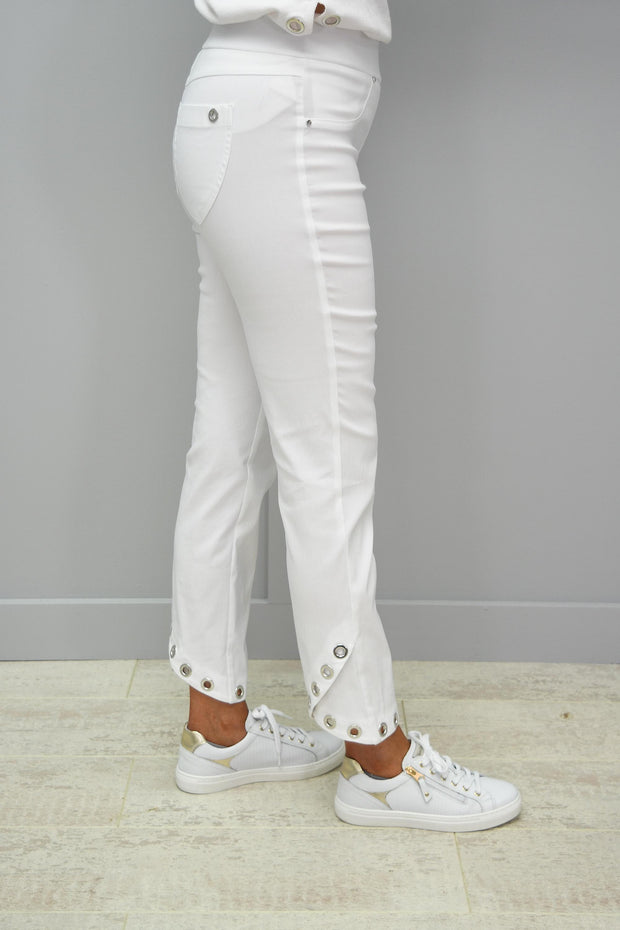 Robell Rose White Trouser With Ring Button Detail At Bottom - 51666 5499 10