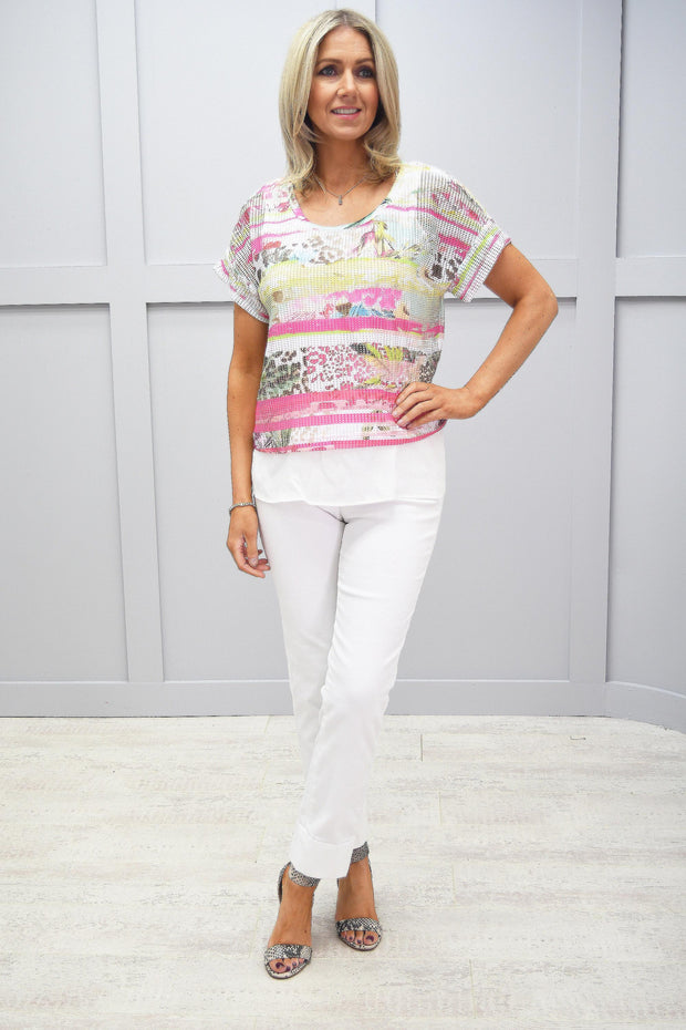 Just White Pink Multicolour Print Mesh Top - 42505 625