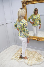 Barbara Lebek Yellow & Navy Print Zip Up JAcket - 65340002 13