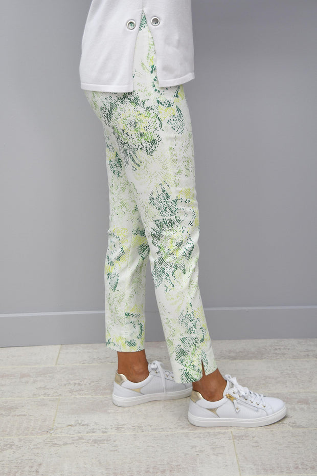 Robell Rose 09 Full Length Green Print Pattern Trousers - 51627 54828 81