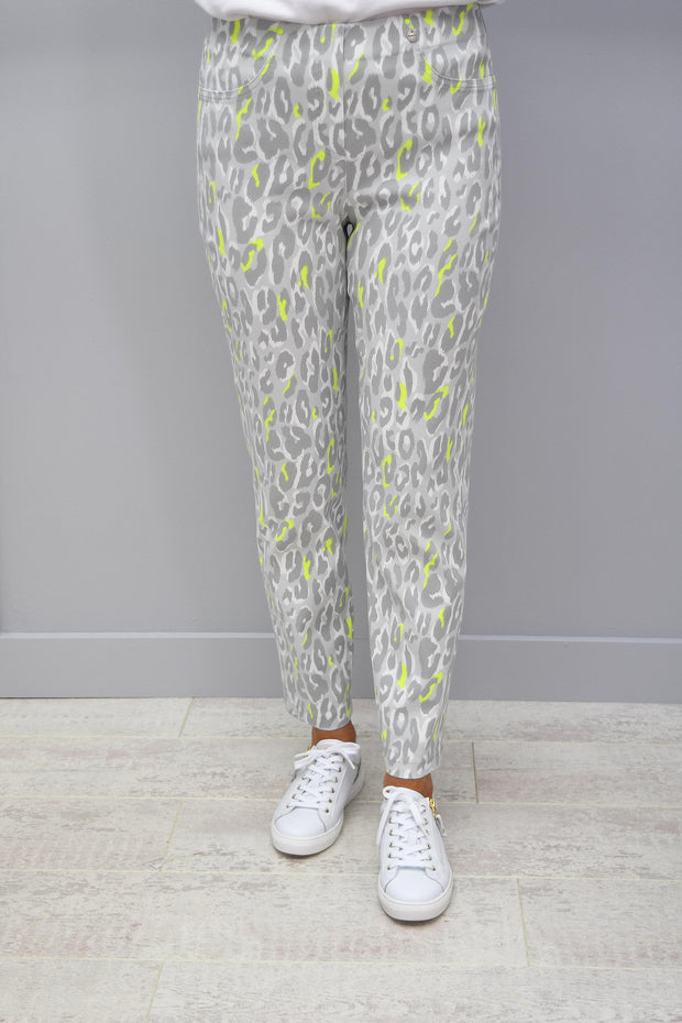 Robell Bella 09 Pearl Grey & Green Leopard Print Trousers - 51560 54570 91