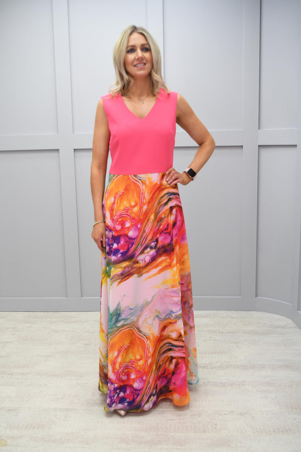 Ella Boo Pink Top Dress With Multicolour Long Skirt - 2729 16