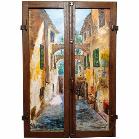 Tuscany painting on wood | Alley of a Tuscan village