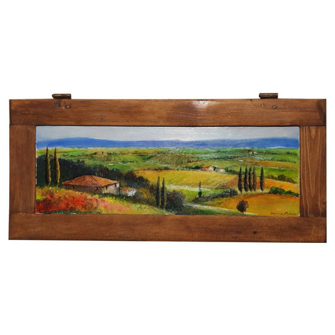 Tuscany painting on wood | Colored fields in Val d'Orcia