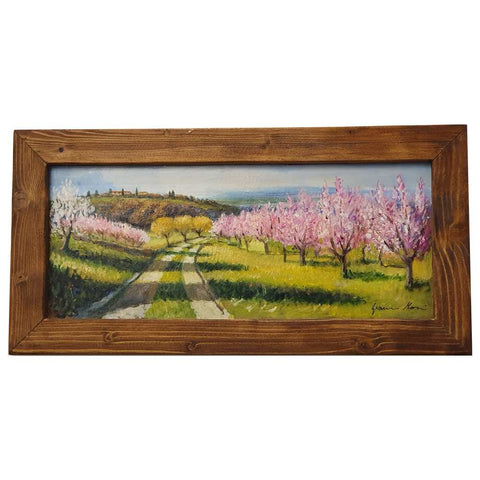 Tuscany painting on wood | Country road with blooming trees