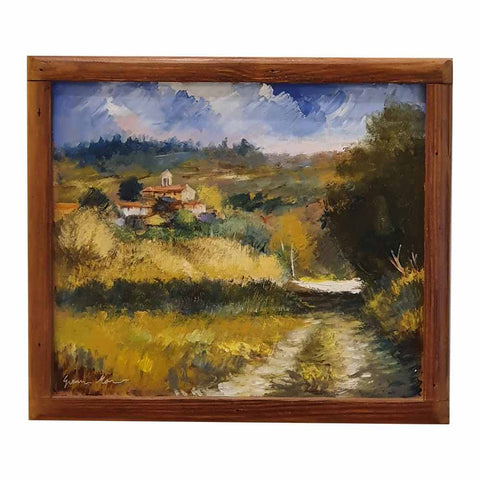 Painting mixed technique acrylic oil on wood | Tuscan Landscape