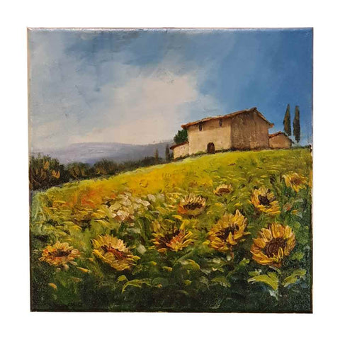 "Painting mixed technique oil and acrylic ""Tuscan countryside with sunflowers"""