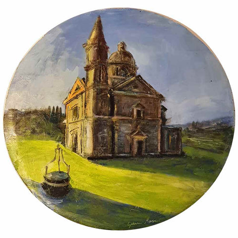 Painting of the temple of San Biagio on wooden board