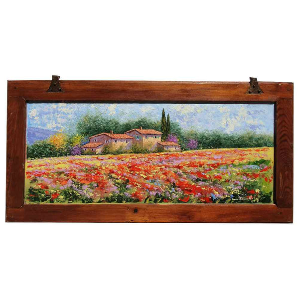 "Painting oil on a wooden shutter ""Tuscan countryside with poppies and lavender"""