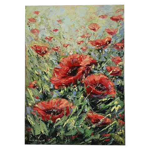 "Painting oil on canvas spatulate technique ""poppies field in Tuscany"""