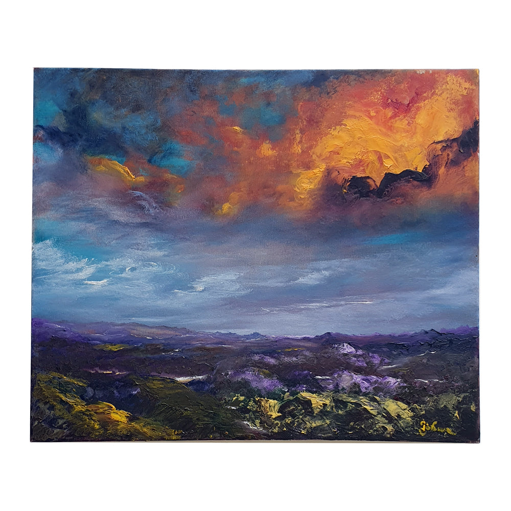 "Painting oil on canvas Tuscan landscape ""Val d'Orcia sunset"""