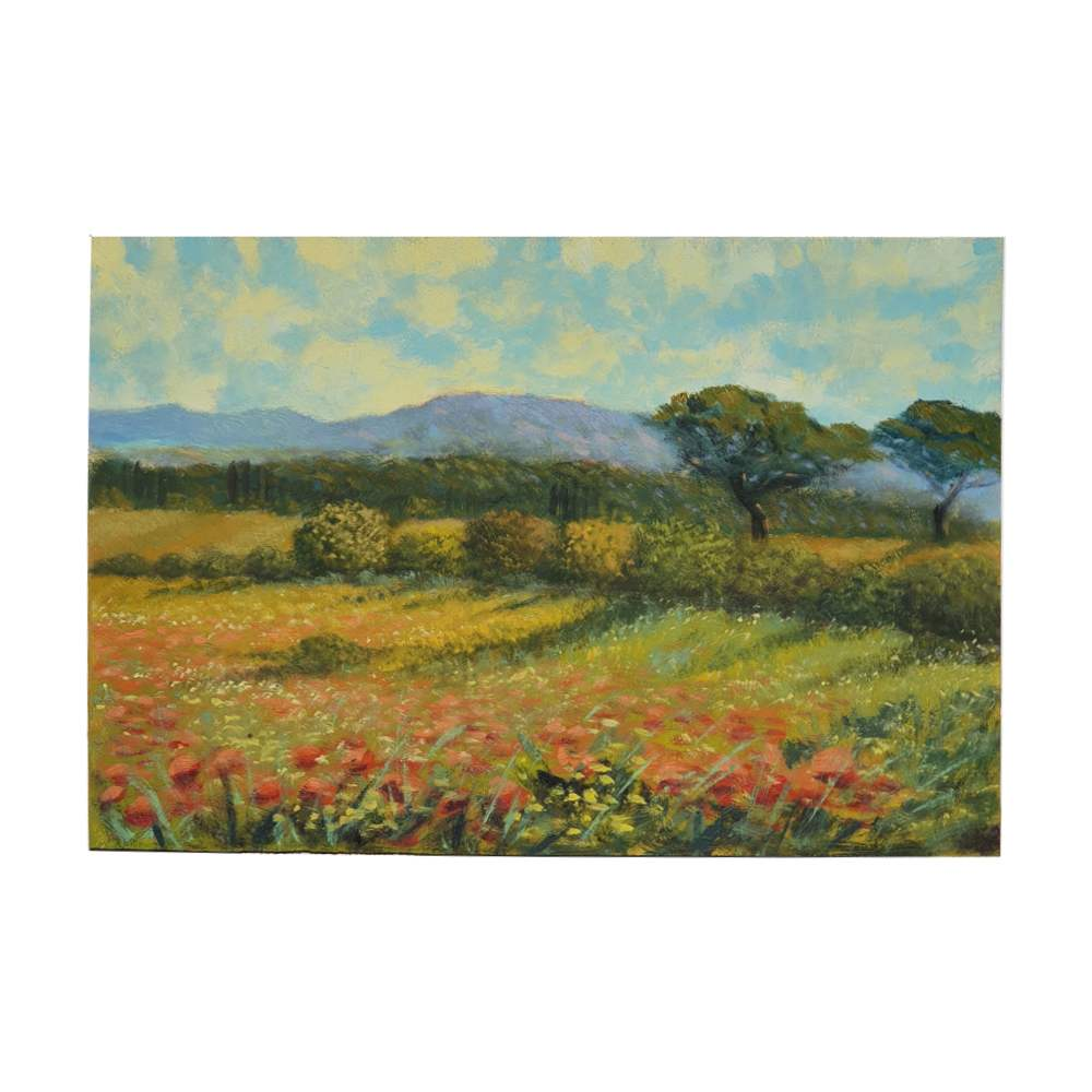 "Painting oil on wooden board ""Tuscan landscape field of flowers"""