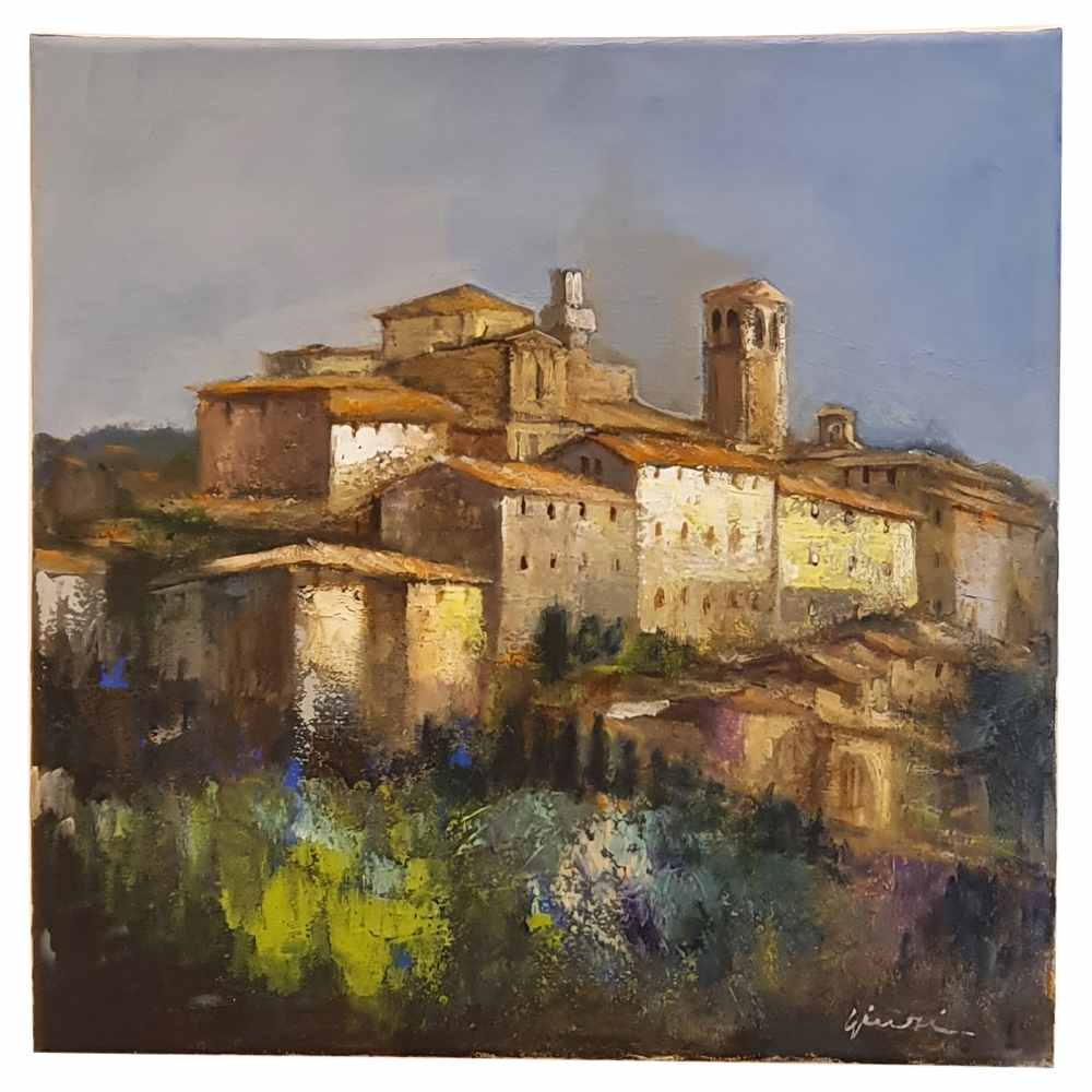 Painting on canvas with a view of Montepulciano at sunset