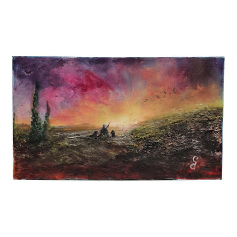 Painting on canvas with sunset