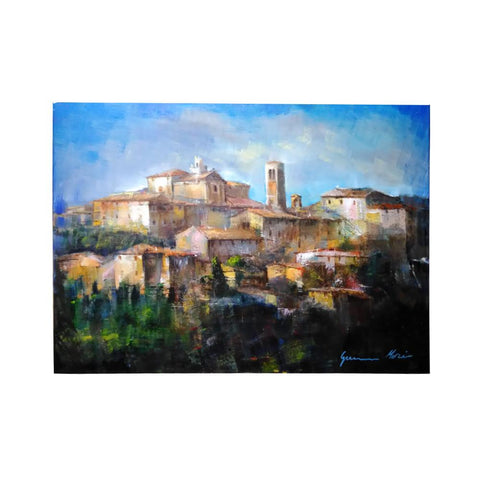 Painting with a view of the historic centre of Montepulciano