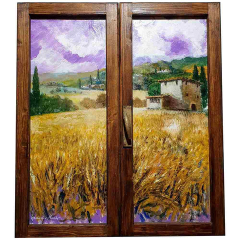 Tuscany painting on wood | Purple sunset over wheat field