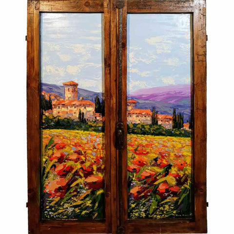 Tuscany painting on wood | Small village in the Val d'Orcia