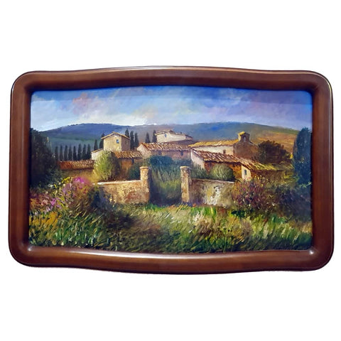 Tuscany painting on wood | Small village in the Tuscan countryside