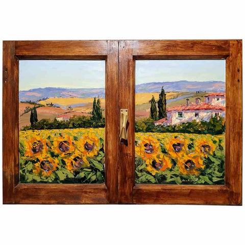 Tuscany painting on wood | Sunflowers field in spring