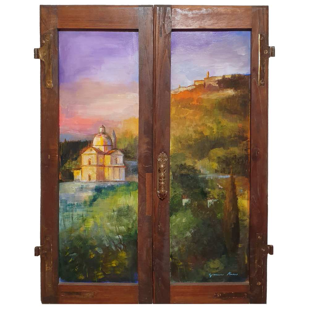 Tuscany painting on wood | Sunset over Montepulciano