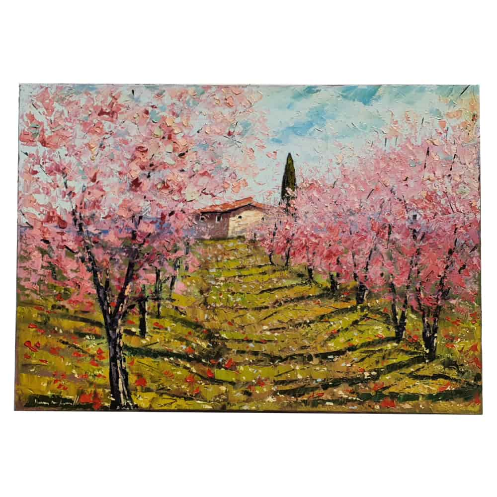 "The painting oil on canvas spatulate technique ""peach trees in bloom"""