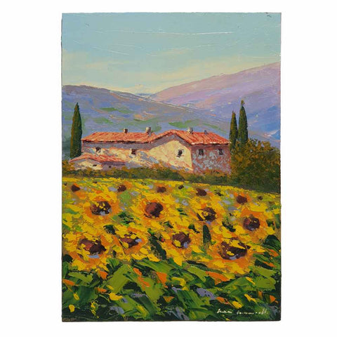 Painting on wood panel | Sunflowers in Val d'Orcia