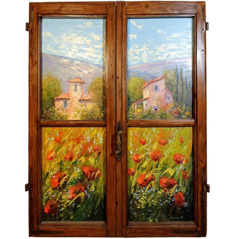 Tuscan farm house-in spring hand painted on ancient window