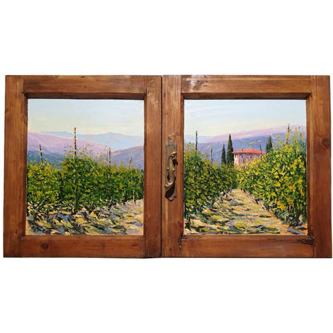 Tuscan vineyard in spring hand painted on wooden window