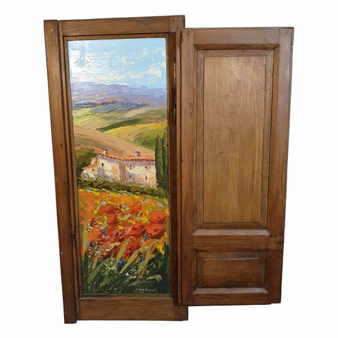 Tuscany painting on wood |  Typical Tuscan hilly landscape