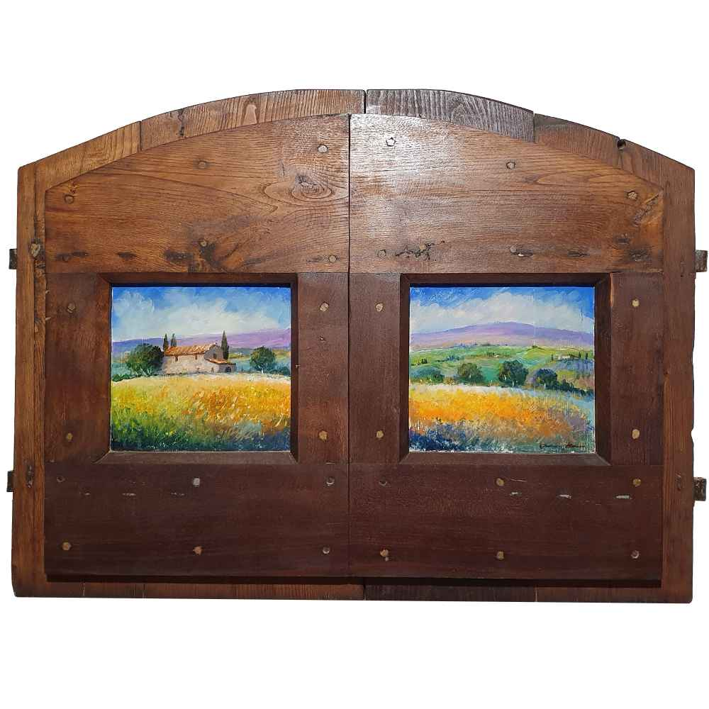 Tuscany painting on wood | Typical landscape of the Val d'Orcia