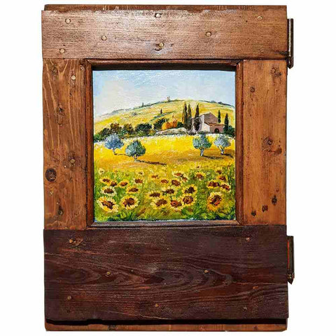 Tuscany painting on wood |  Typical Tuscany landscape with sunflowers
